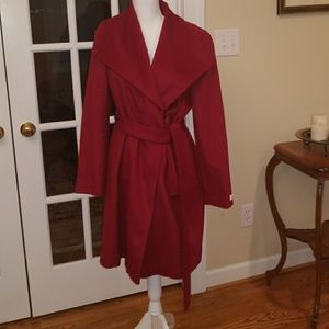 NWOT Red Calvin wool long pea coat size 12